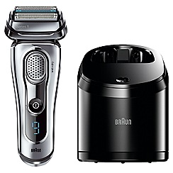 Braun - Series 9 9095cc Electric Wet & Dry Foil Shaver with Clean & Charge Station Silver
