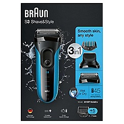Braun - 'S3 Shave & Style' 3 in 1 wet and dry cordless shaver - 3010BT