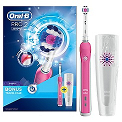Oral-B - Pink 'Pro 2' 2500W 3D white electric rechargeable toothbrush