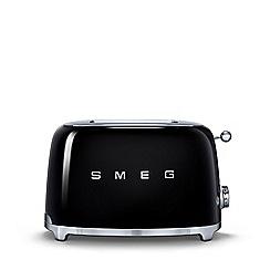 Smeg - Black 2 slice toaster TSF01BLUK