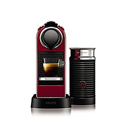 Nespresso - Cherry red 'Citiz & Milk' coffee machine and aeroccino 3 by Krups XN760540