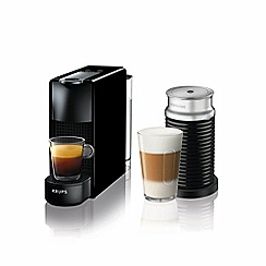 Nespresso - Piano black 'Essenza Mini' bundle coffee machine and aeroccino 3 bundle by Krups XN111840