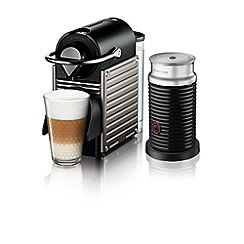 Nespresso - Black and silver 'Pixie and Aeroccin' Nespresso  coffee machine XN301T40