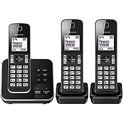 Panasonic - Digital cordless telephone triple answerphone KX-TGD323EB