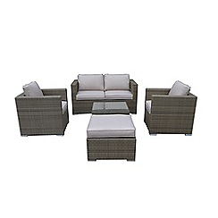 Debenhams - Brown rattan 'LA' garden sofa, coffee table, 2 armchairs and footstool