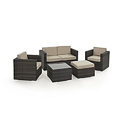 Debenhams - Brown rattan effect 'LA' garden sofa, coffee table, 2 armchairs and footstool
