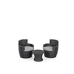 Debenhams - Grey rattan effect 'LA Boston' garden side table and 2 armchairs