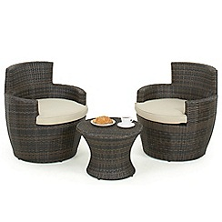 Debenhams - Brown rattan effect 'LA Boston' garden side table and 2 armchairs