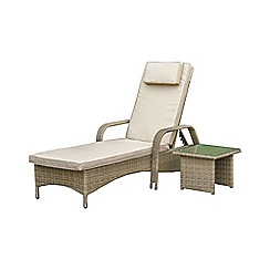 Debenhams - Light brown rattan effect 'LA Florida' reclining garden sunlounger and side table