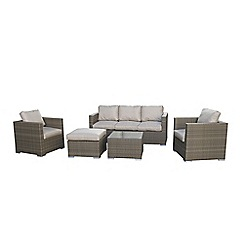 Debenhams - Light brown rattan effect 'LA Georgia' garden sofa, side table, 2 armchairs and footstool