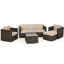 Debenhams - Brown rattan effect 'LA Georgia' garden sofa, side table, 2 armchairs and footstool
