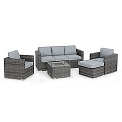Debenhams - Grey rattan effect 'LA Georgia' garden sofa, 2 armchairs, footstool and coffee table with ice bucket