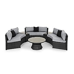 Debenhams - Grey rattan effect 'LA' half moon garden sofa set
