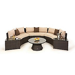 Debenhams - Brown rattan effect 'LA' half moon garden sofa set