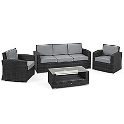 Debenhams - Grey rattan effect 'LA Kingston' garden sofa, coffee table and 2 armchairs