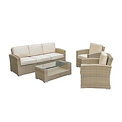 Debenhams - Light brown rattan effect 'LA Kingston' garden sofa, coffee table and 2 armchairs