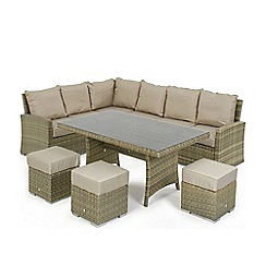 Debenhams - Light brown rattan effect 'LA Kingston' corner garden dining unit
