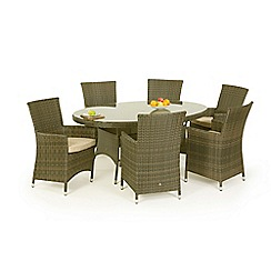 Debenhams - Light brown rattan effect 'LA' oval garden table and 6 chairs