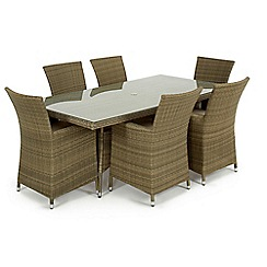 Debenhams - Light brown rattan effect 'LA' rectangular garden table and 6 chairs