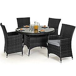 Debenhams - Grey rattan effect 'LA' round garden table and 4 chairs