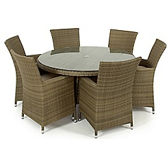 Debenhams - Light brown rattan effect 'LA' round garden table and 6 chairs