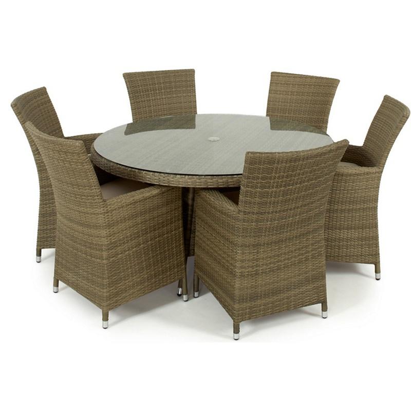 Rattan Effect Garden Dining Furniture: Light Brown Rattan Effect 'La' Round Garden