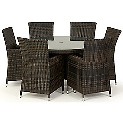 Debenhams - Brown rattan effect 'LA' round garden table and 6 chairs