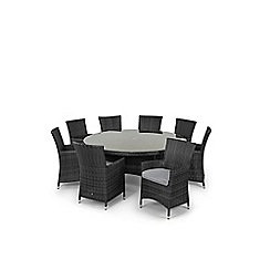 Debenhams - Grey rattan effect 'LA' round table and 8 chairs