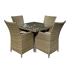 Debenhams - Light brown rattan effect 'LA' square garden table and 4 chairs