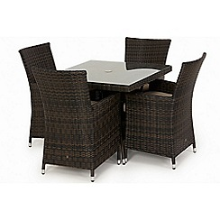 Debenhams - Brown rattan effect 'LA' square garden table and 4 chairs