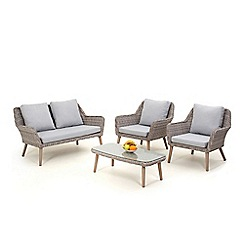 Debenhams - Light grey rattan effect 'Palmira' garden sofa, coffee table and 2 armchairs