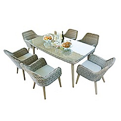 Debenhams - Light grey rattan effect 'Palmira' garden table and 6 chairs set
