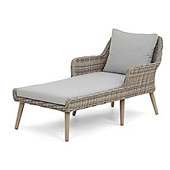 Debenhams - Light grey rattan effect 'Palmira' sunlounger with cushion