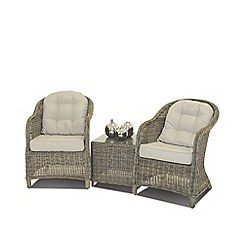 Debenhams - Light brown rattan effect 'Winchester' garden lounge chairs and side table