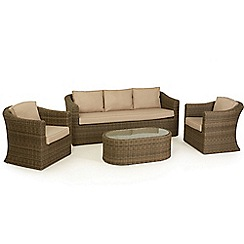 Debenhams - Light brown rattan effect 'Winchester' garden sofa, coffee table and 2 armchairs
