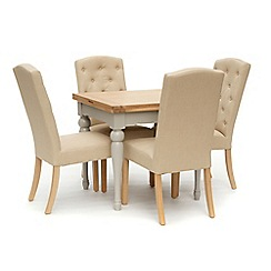 Willis & Gambier - White-washed oak and painted 'Worcester' flip-top table and 4 beige 'Stanza' chairs