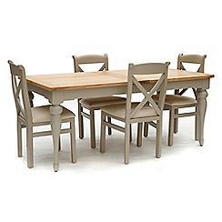 Willis & Gambier - White-washed oak and painted 'Worcester' large extending table and 4 chairs