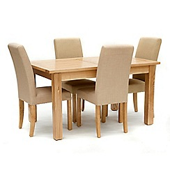 Willis & Gambier - Ash 'Denver' medium extending table and 4 cream 'Harlequin' chairs