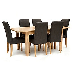 Willis & Gambier - Ash 'Denver' medium extending table and 6 grey 'Harlequin' chairs