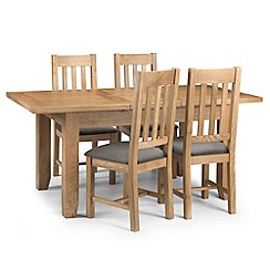 Debenhams - Oak 'Arlington' extending table and 4 chairs with grey fabric seats
