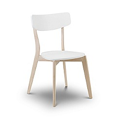 Debenhams - Set of 4 oak effect and white 'Cassina' chairs