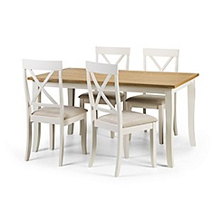 Debenhams - Oak and white 'Devon' fixed-top table and 4 chairs