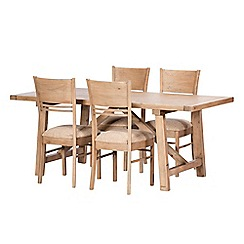 Debenhams - Reclaimed wood 'Toscana' fixed-top dining table and 4 chairs