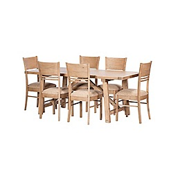 Debenhams - Reclaimed wood 'Toscana' fixed-top dining table and 6 chairs
