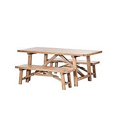 Debenhams - Reclaimed wood 'Toscana' fixed-top dining table and 2 benches