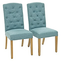 Willis & Gambier - Pair of light blue 'Stanza' button back upholstered dining chairs