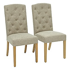 Willis & Gambier - Pair of beige 'Stanza' button back upholstered dining chairs