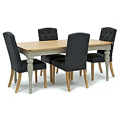 Willis & Gambier - Oak and painted 'Worcester' large extending table and 4 grey 'Stanza' chairs
