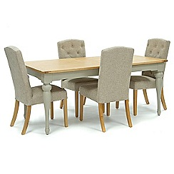 Willis & Gambier - Oak and painted 'Worcester' large extending table and 4 beige 'Stanza' chairs