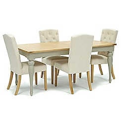 Willis & Gambier - Oak and painted 'Worcester' large extending table and 4 natural 'Stanza' chairs